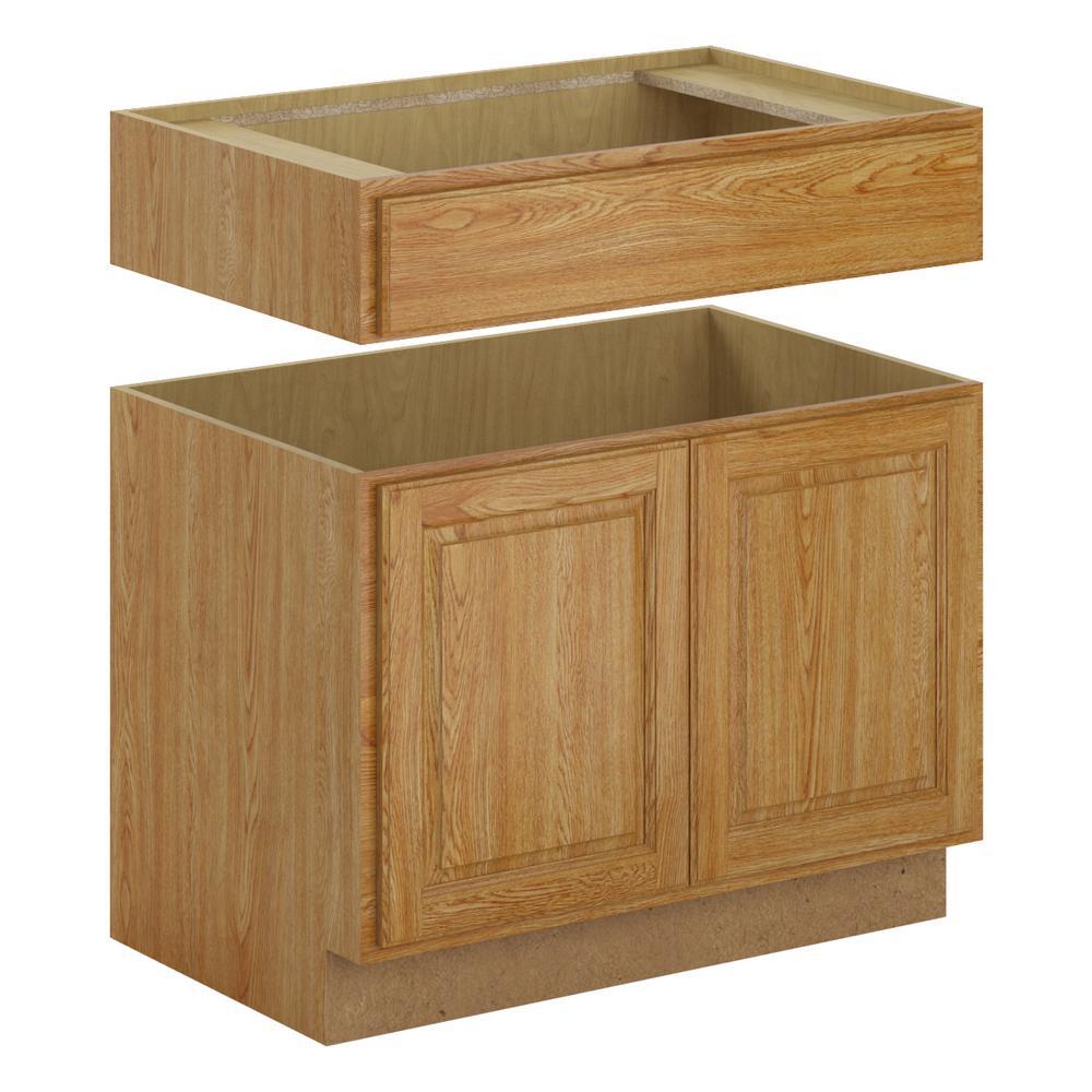 Medium Oak Kitchen: Hampton Bay Madison Assembled 36x34.5x24 In. Accessible