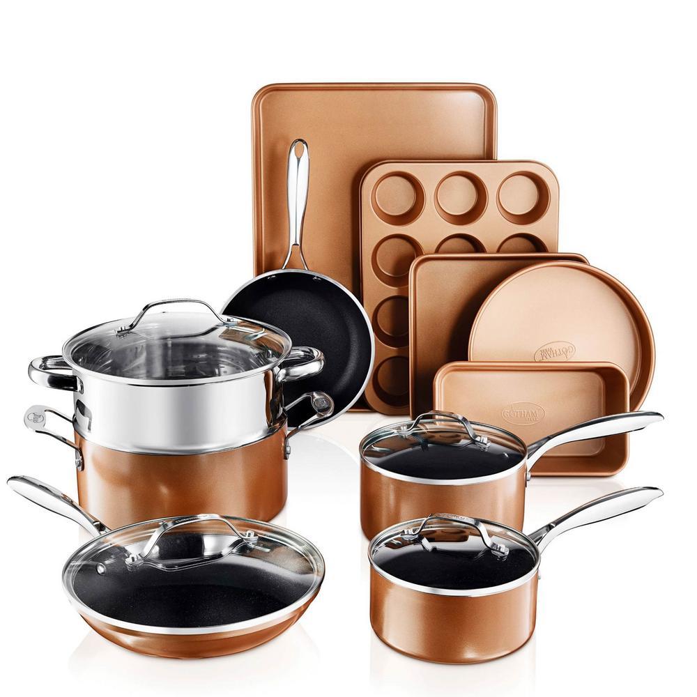 15- Piece Aluminum Non-Stick Copper Cast Textured Surface Cookware Set