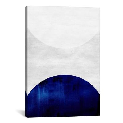 """White & Cobalt"" by LEEMO Canvas Wall Art"
