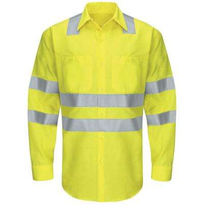 Class 3 Level 2 Men's 3X-Large Yellow/Green Hi-Visibility Ripstop Work Shirt