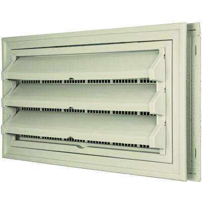 9-3/8 in. x 17-1/2 in. Foundation Vent Kit with Trim Ring and Optional Fixed Louvers (Molded Screen) in #089 Champagne