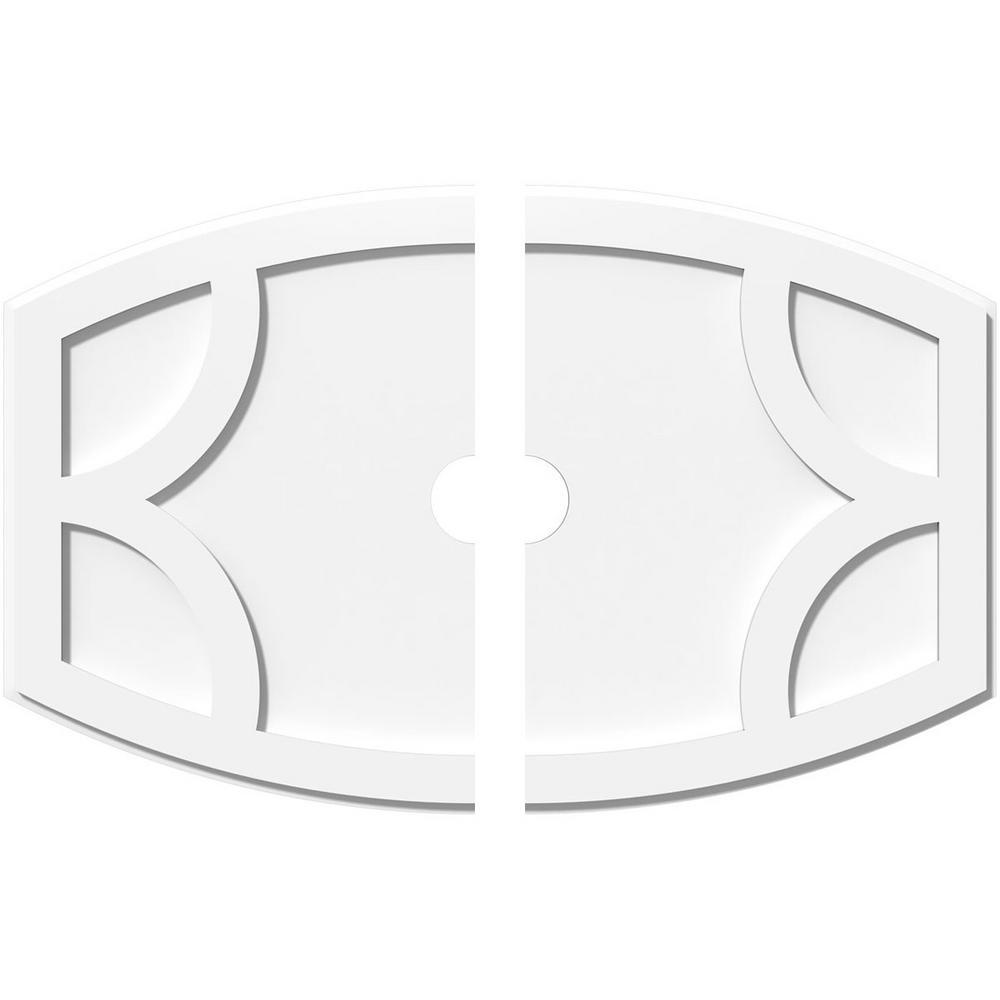 Ekena Millwork 32 in. W x 21-3/8 in. H x 3 in. ID x 1 in. P Kailey Architectural Grade PVC Contemporary Ceiling Medallion (2-Piece)
