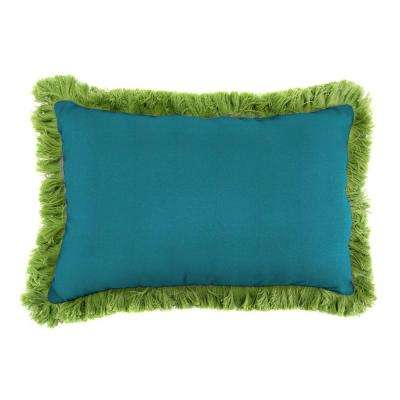 Sunbrella 19 in. x 12 in. Spectrum Peacock Lumbar Outdoor Throw Pillow with Gingko Fringe