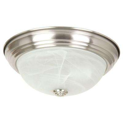 Belen 2-Light Satin Nickel Flushmount with White Marble Glass Shade