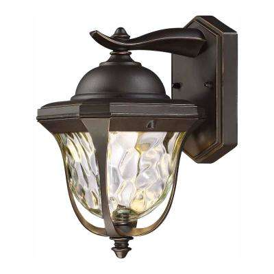 14 in. LED Aged Bronze Patina Outdoor Wall Lantern Sconce with Clear Hammered Glass Shade