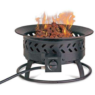 15.5 in. W Copper Finish Steel LP Gas Outdoor Fire Pit with Lava Rocks and Integrated Electronic Ignition
