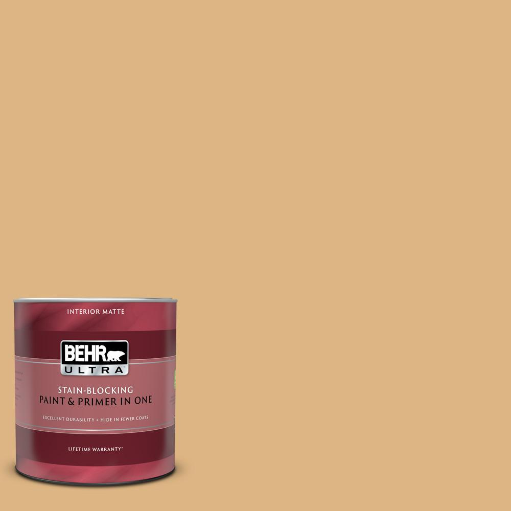 Behr Ultra 1 Qt Home Decorators Collection Hdc Cl 18 Cellini Gold Matte Interior Paint And Primer 175404 The Home Depot