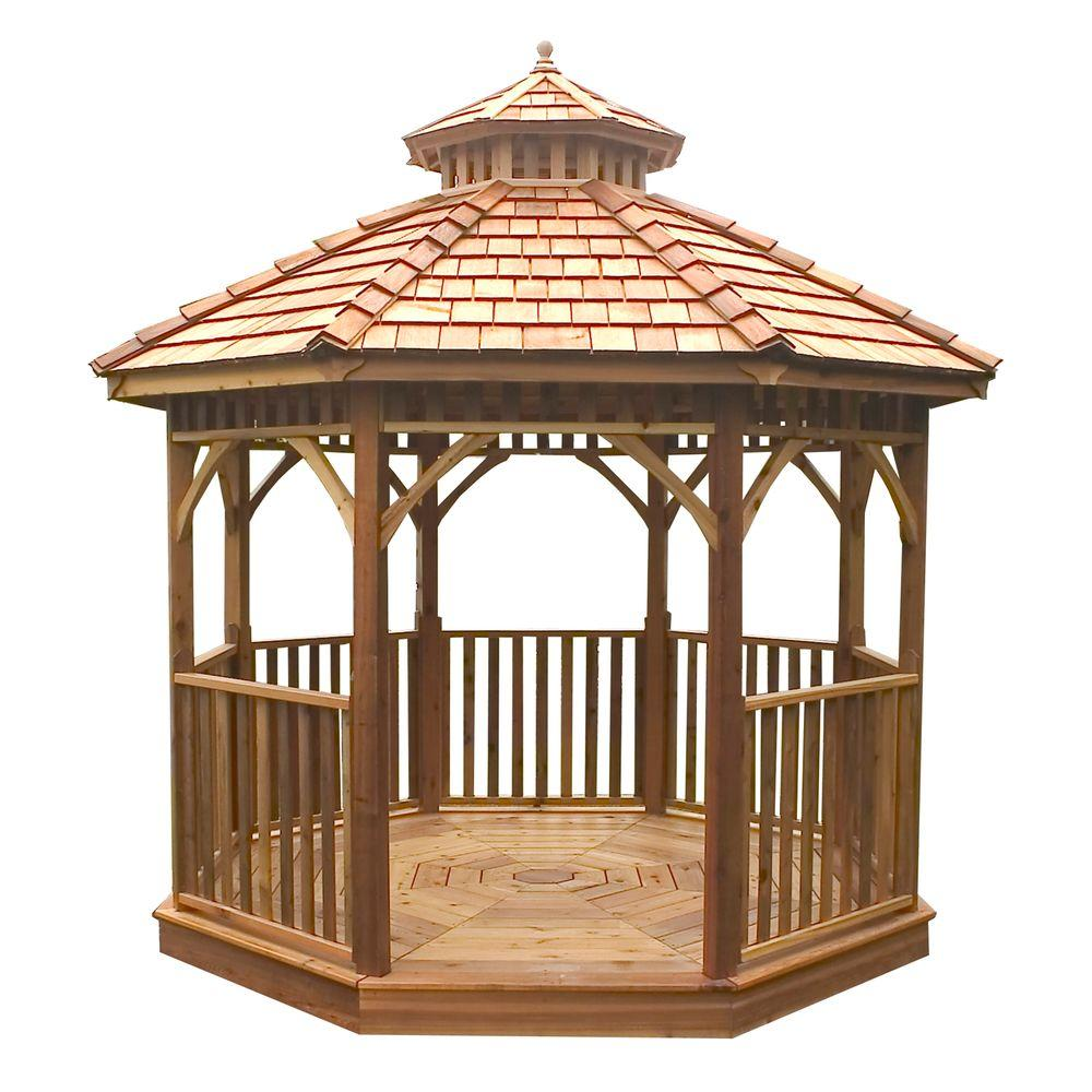 outdoor living today 12 ft octagon bayside panelized gazebo rh homedepot com Octagon Gazebo Blueprint Octagon Gazebos at Sam's Club