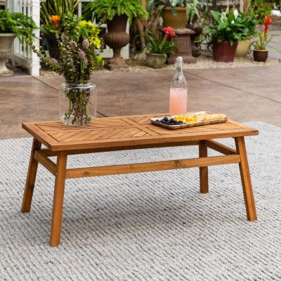 Brown Acacia Wood Outdoor Patio Coffee Table
