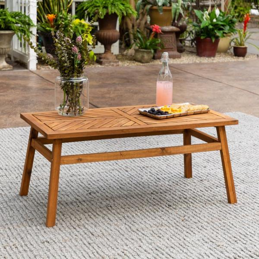 Brown Acacia Wood Outdoor Patio Coffee Table