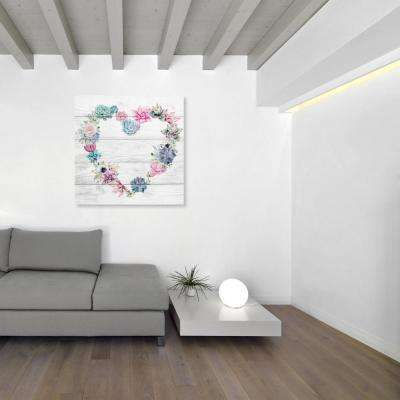 """36 in. H x 36 in. W """"Succulent Love"""" by """"The Oliver Gal Artist Co."""" Printed Framed Canvas Wall Art"""