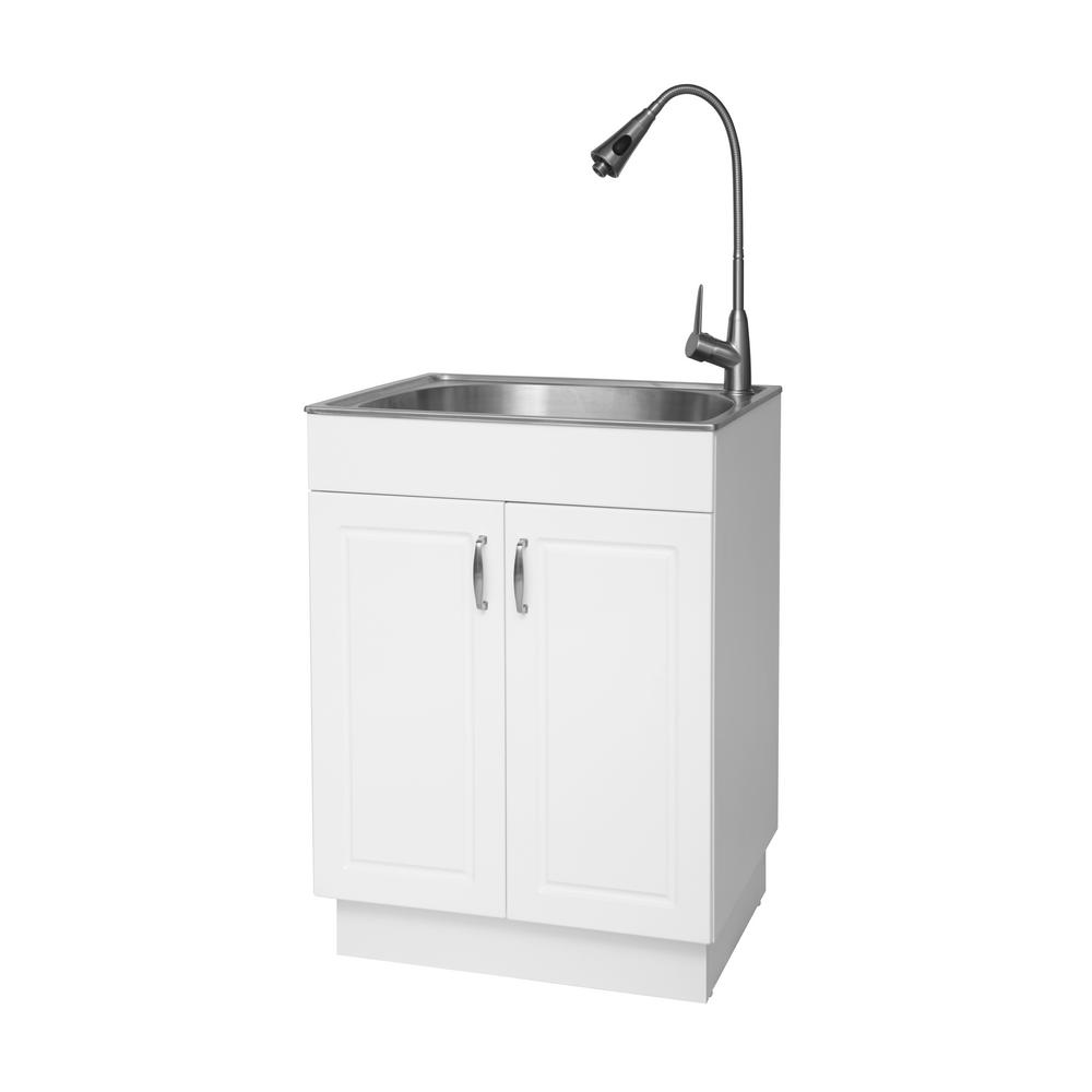 Glacier Bay All In One 24 2 In X 21 3 In X 33 8 In Stainless Steel Laundry Sink With Faucet And Storage Cabinet Ql033 The Home Depot