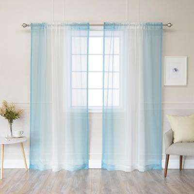 84 in. L Ocean Sheer Faux Linen Rod Pocket Ombre Border Curtain (2-Pack)