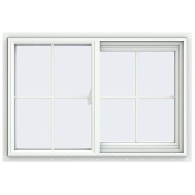35.5 in. x 23.5 in. V-2500 Series White Vinyl Right-Handed Sliding Window with Colonial Grids/Grilles
