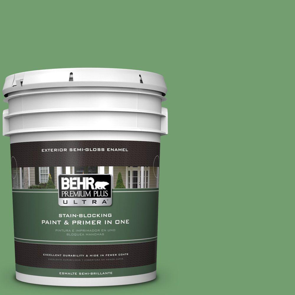 BEHR Premium Plus Ultra 5-gal. #450D-6 Shire Green Semi-Gloss Enamel Exterior Paint