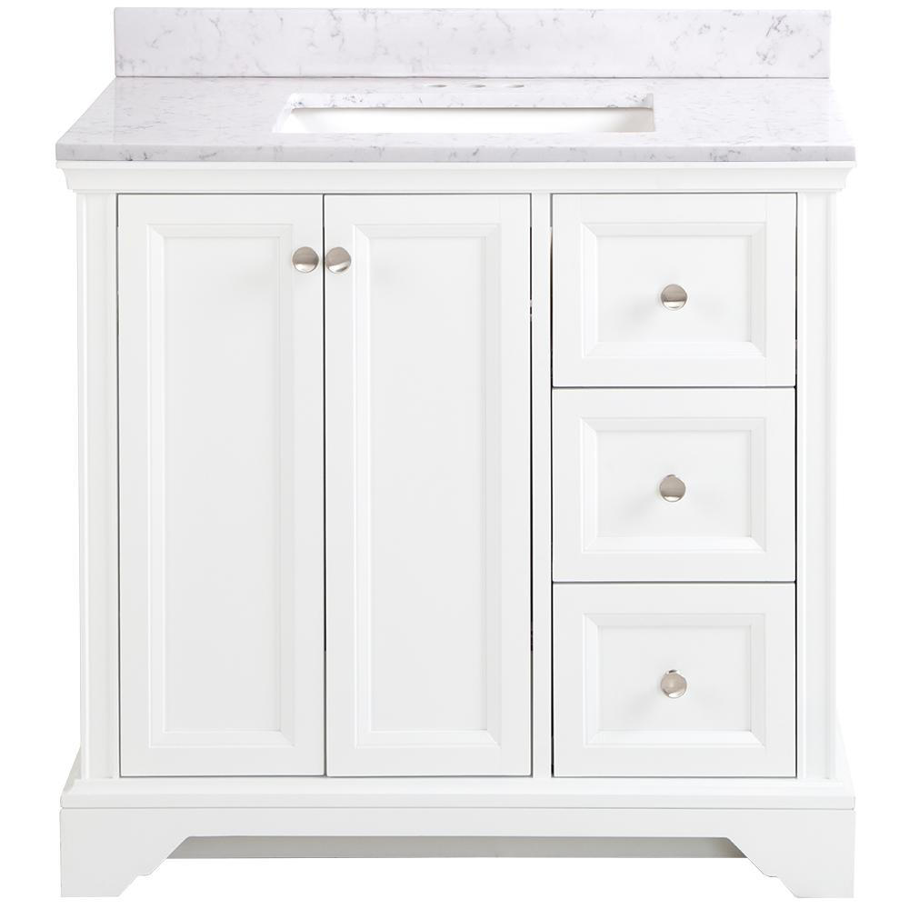 Home Decorators Collection Stratfield 37 in. W x 22 in. D x Bathroom Vanity in White with Stone Effect Vanity Top in Pulsar with White Sink