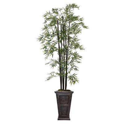 """Artificial Faux Pastic 91"""" Tall Bamboo Tree With Decorative Black Poles And Fiberstone Planter"""