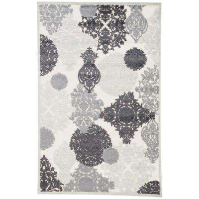 Machine Made Light Gray 2 ft. x 3 ft. Damask Area Rug