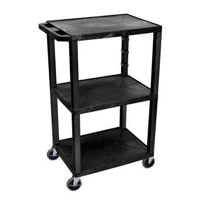 WT 42 in. H, A/V cart with black legs, black shelves