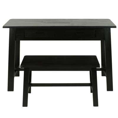 Rustic Console & Bench Black Table and Chair Set