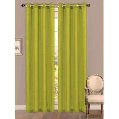 Semi-Opaque Primavera Crushed Microfiber 55 in. W x 84 in. L Grommet Extra Wide Curtain Panel in Lime