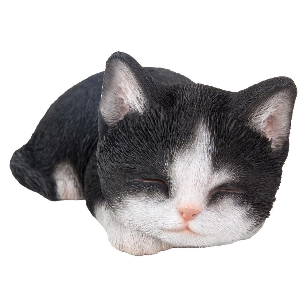 Black and White Kitten Sleeping Statue