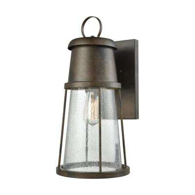 Crowley Large 1-Light Hazelnut Bronze with Clear Seedy Glass Outdoor Wall Mount Sconce