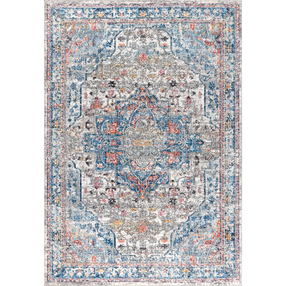 Jonathan Y Manisa Vintage Medallion Ivory Peacock Blue Coral 5 Ft 3 In X 7 Ft 7 In Area Rug
