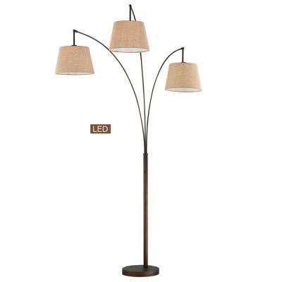 Luce 84 in. 3-Arched Antique Bronze Floor Lamp with Dimmer