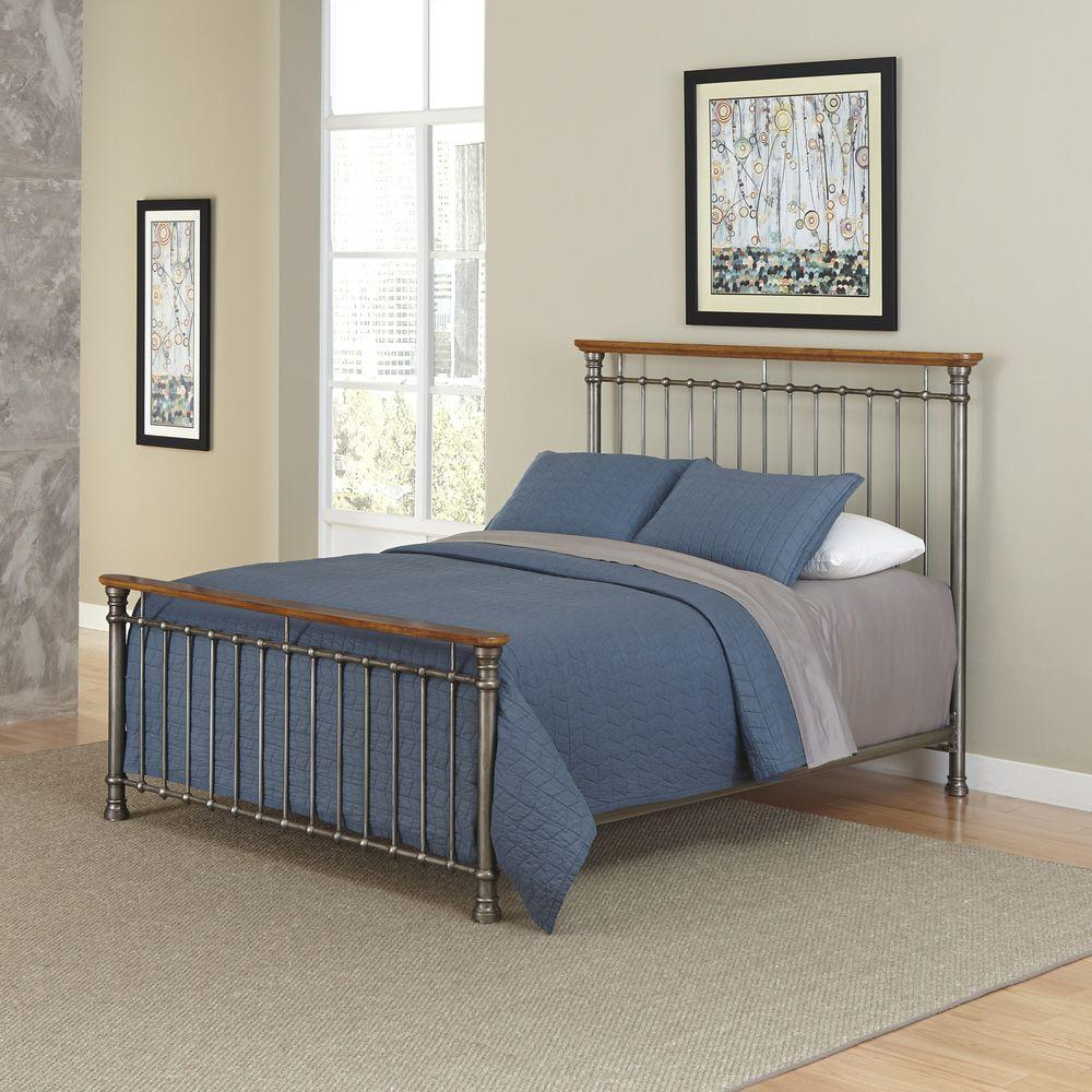 Home Styles Orleans Caramel King Bed Frame, Powder-Coated...