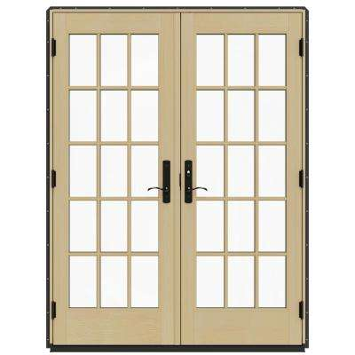 60 in. x 80 in. W-4500 Contemporary Bronze Clad Wood Left-Hand 15 Lite French Patio Door w/Lacquered Interior