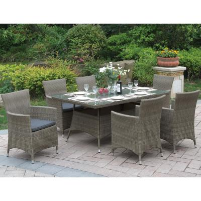 Nasino 7-Piece Wicker Outdoor Patio Dining Set with Brown Seat Cushions