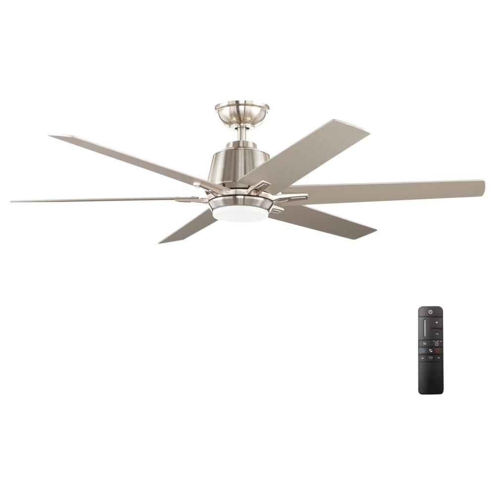 Kensgrove 54 in. Integrated LED Indoor Brushed Nickel Ceiling Fan with