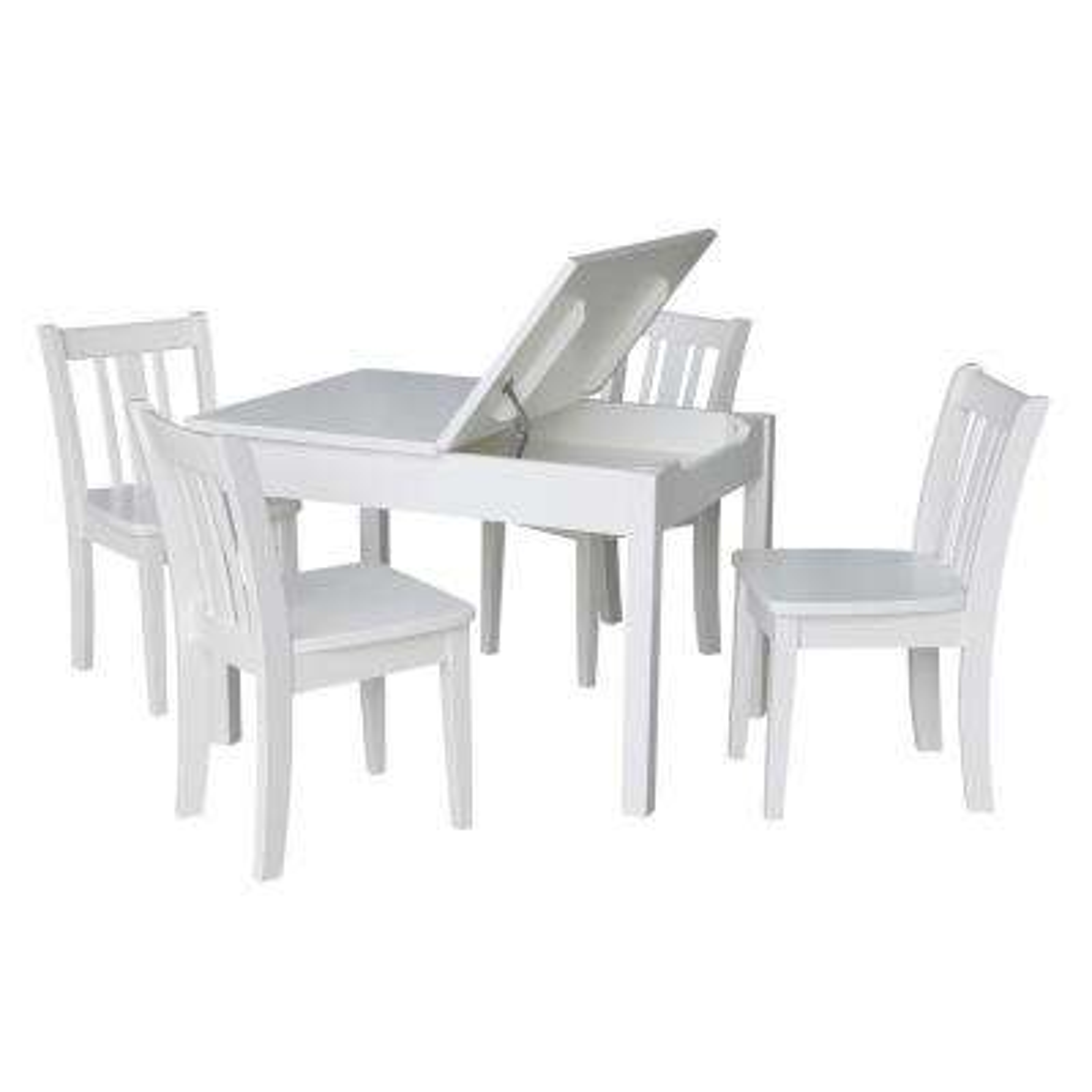 Jorden 5-Piece White Lift Top Storage Table Set