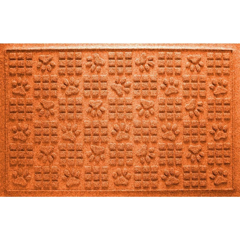 Orange 24 in. x 36 in. Dog Paw Squares Pet Mat