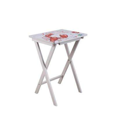 19.5 in. White Wood Portable Folding Table