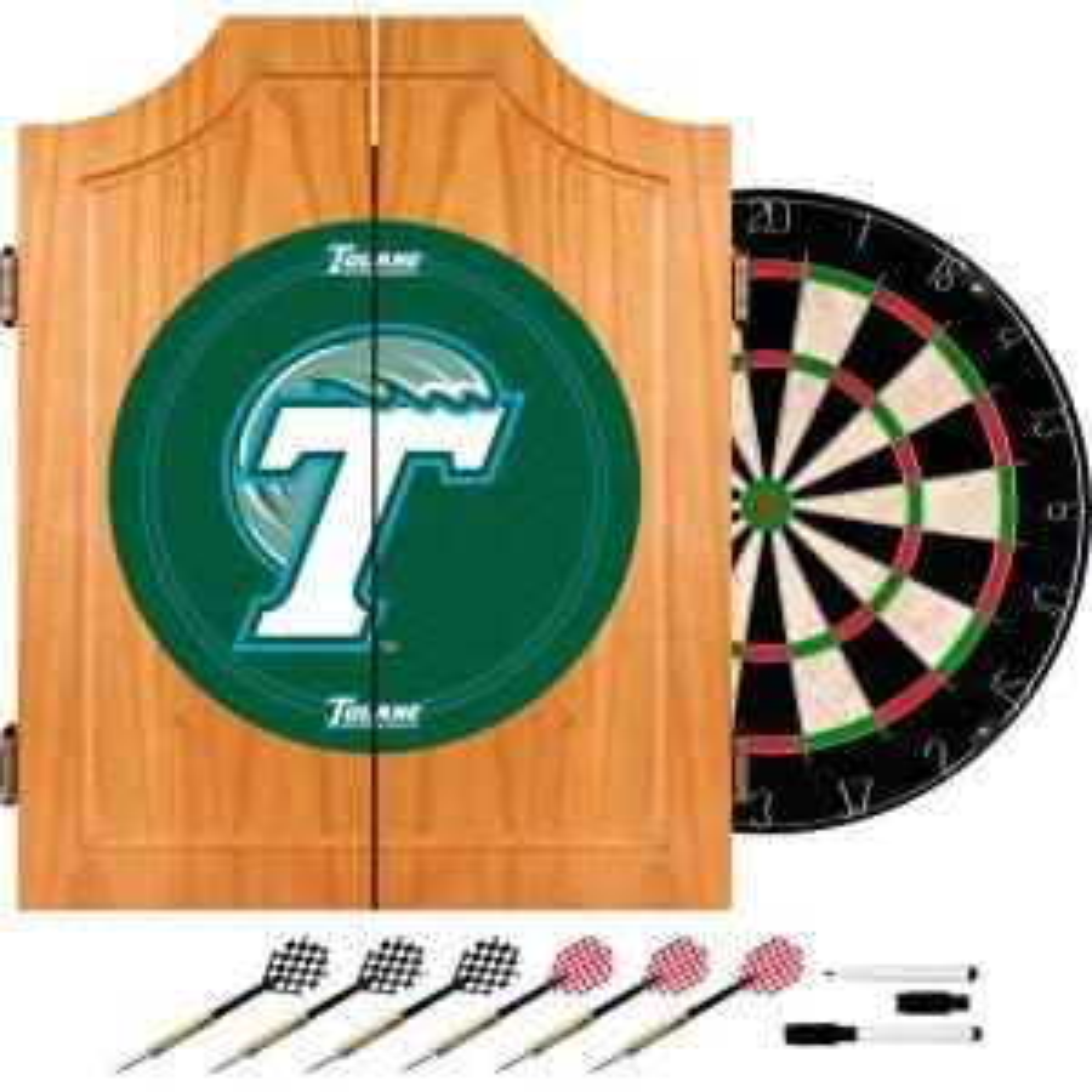Tulane University Wood Finish Dart Cabinet Set