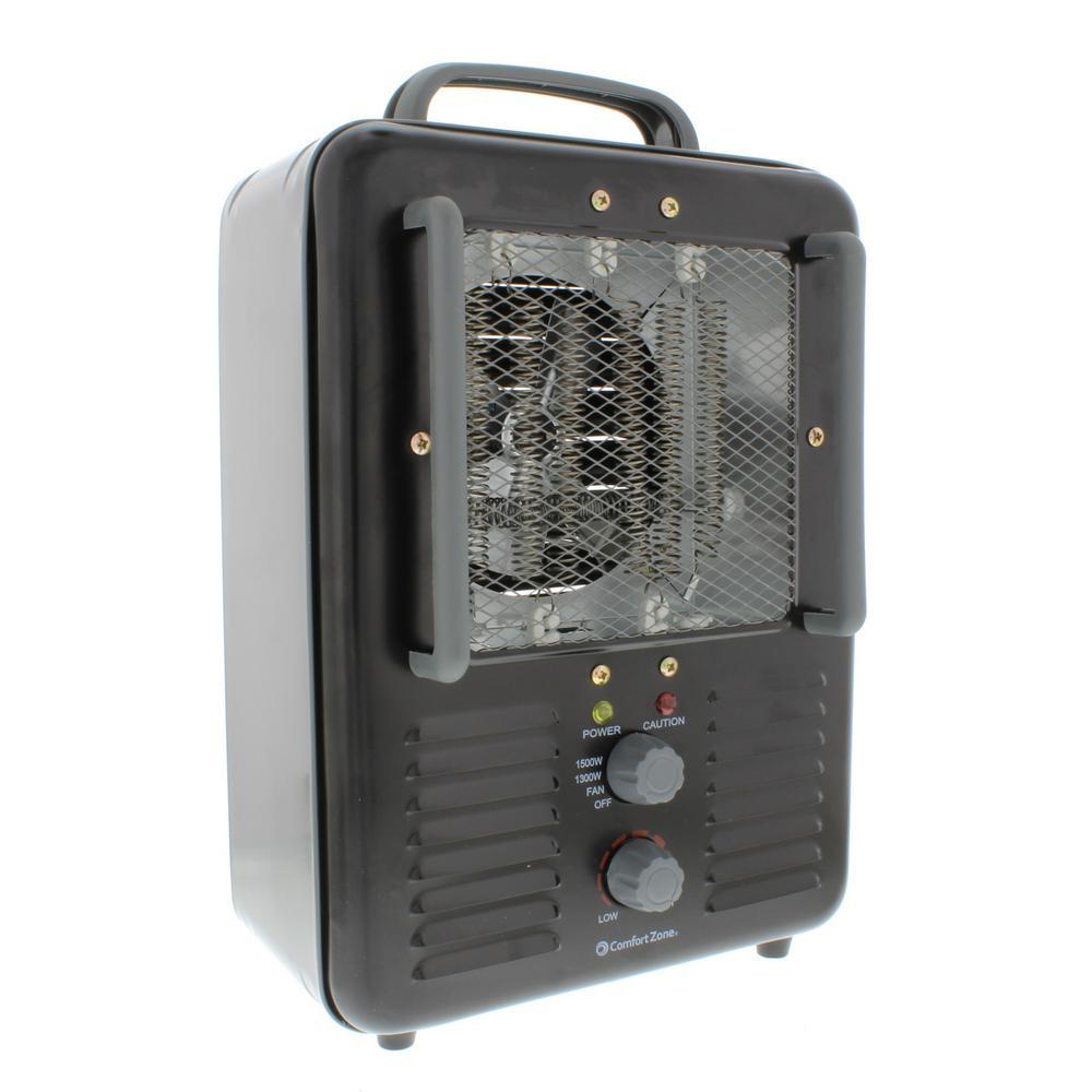 ComfortZone Comfort Zone 1,500-Watt Milk house Style Fan Electric Portable Heater - Black