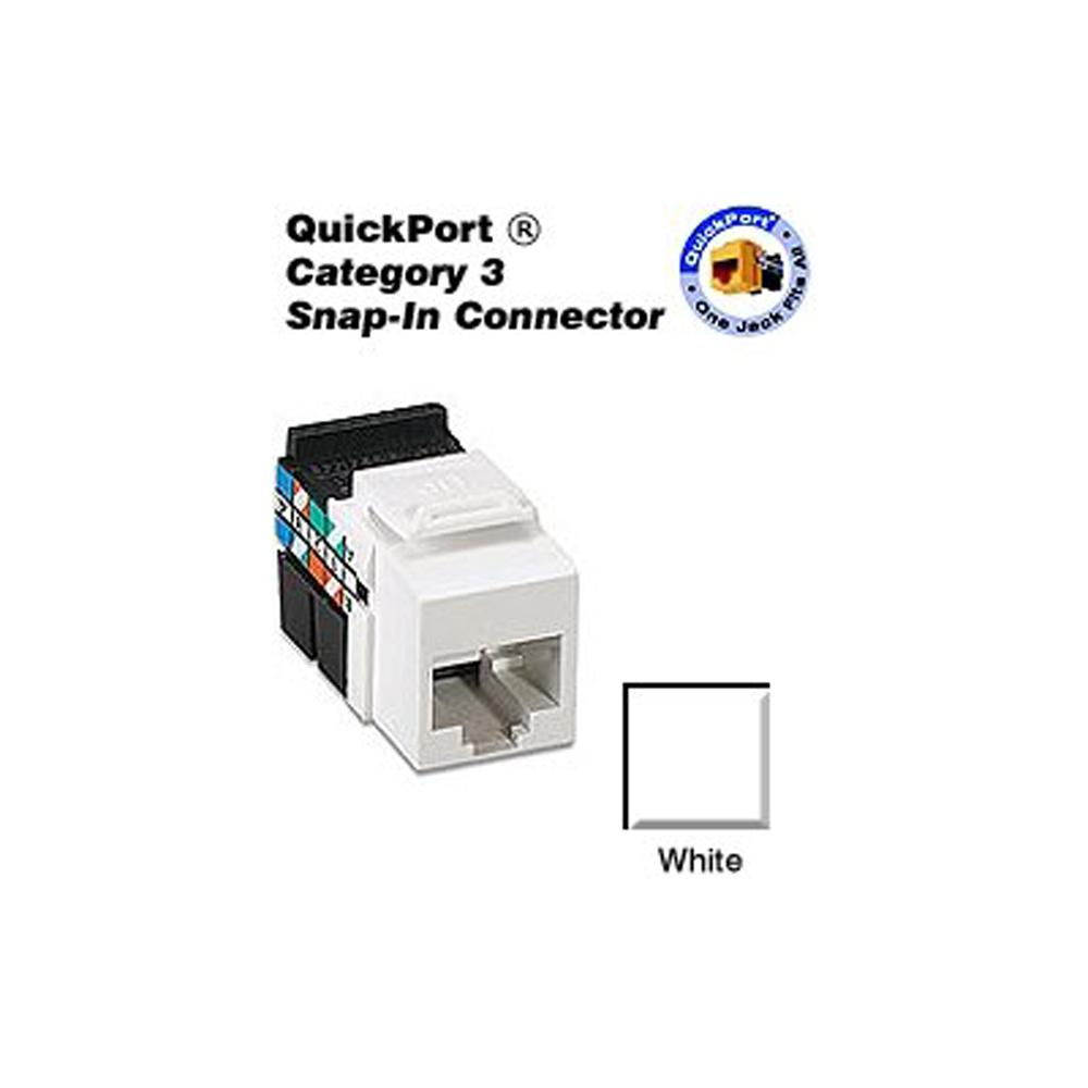 Leviton Quickport Cat 3 Connector White 41108 Rw3 The Home Depot Flush Mount Output Jack Wiring