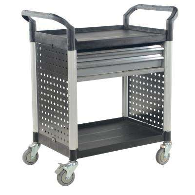 33 in. x 19 in. 3-Shelf Commercial Cart with Drawers