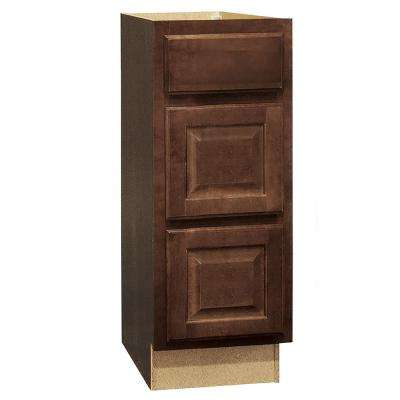 Hampton Assembled 12x34.5x21 in. Bathroom Vanity Drawer Base Cabinet with Ball-Bearing Drawer Glides in Cognac