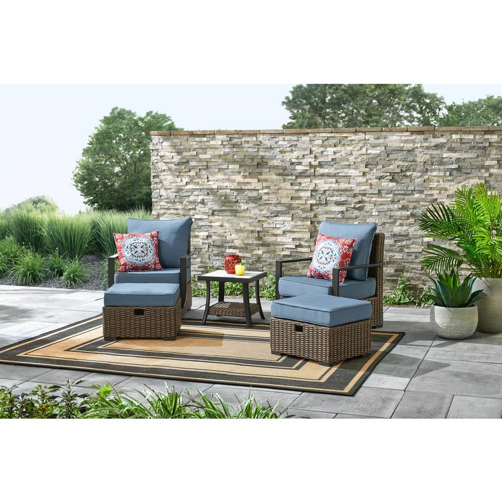 Whitfield 5-Piece Dark Brown Wicker Outdoor Patio Bistro Set with Standard Steel Blue Cushions