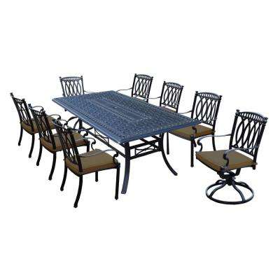 Morocco Aluminum 9-Piece Outdoor Dining Set with Sunbrella Brown Cushions