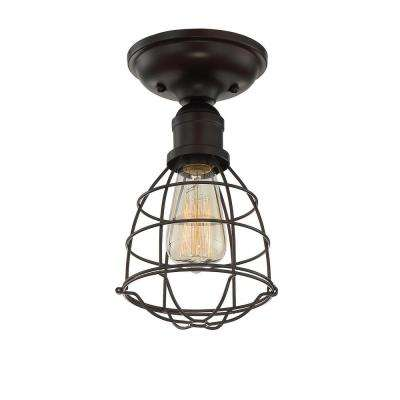 1-Light English Bronze Semi-Flush Mount