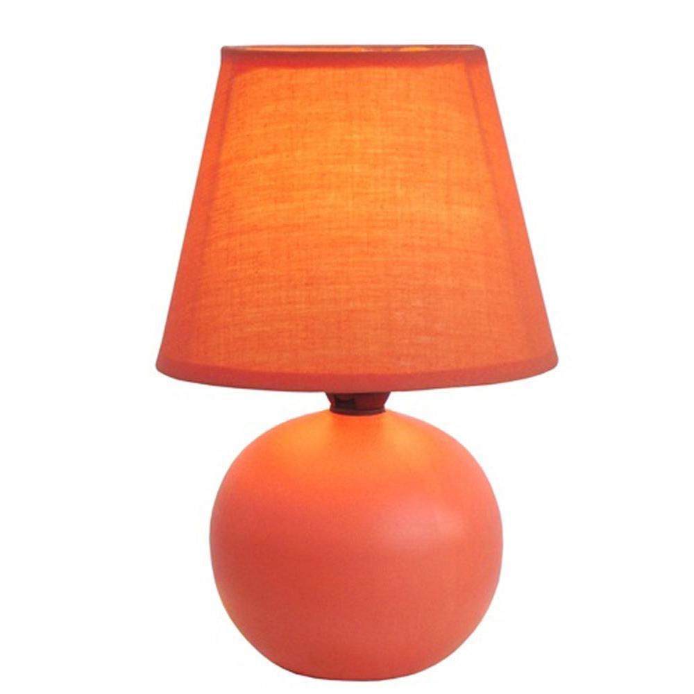 8.78 in. Orange Mini Ceramic Globe Table Lamp