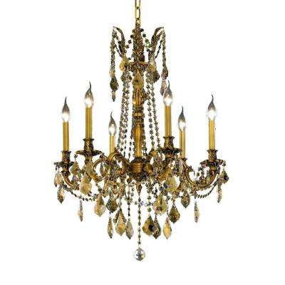 6-Light French Gold Chandelier with Golden Teak Smoky Crystal