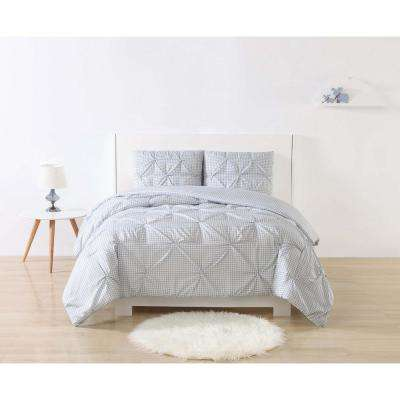 Anytime Gingham Pinch Pleat Grey Twin Extra Long Comforter Set