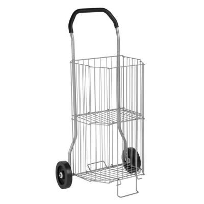 2-Tier Steel Wire Rolling All-Purpose Cart in Gray