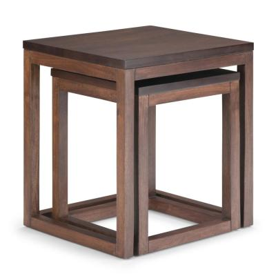 Landon 21 in. Wide Modern Rustic 2-Piece Nesting Table in Two Tone Brown