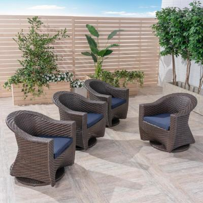 Larchmont Multi-Brown Swivel Metal Outdoor Lounge Chair with Navy Cushion (4-Pack)